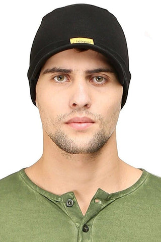 Fabseasons Solid Black Cotton Winter Skull Cap