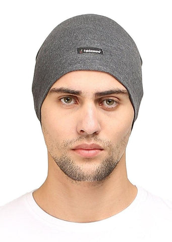 Fabseasons Plain Dark Grey Cotton Winter Skull Cap