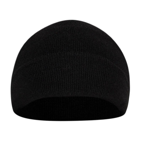 Fabseasons Simple Black Woolen Winter Skull Cap