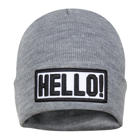 Fabseasons Grey HELLO Skull Cap for Winters