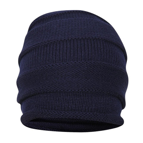 FabSeasons Unisex Blue Acrylic Woolen Slouchy Beanie and Skull Cap for Winters
