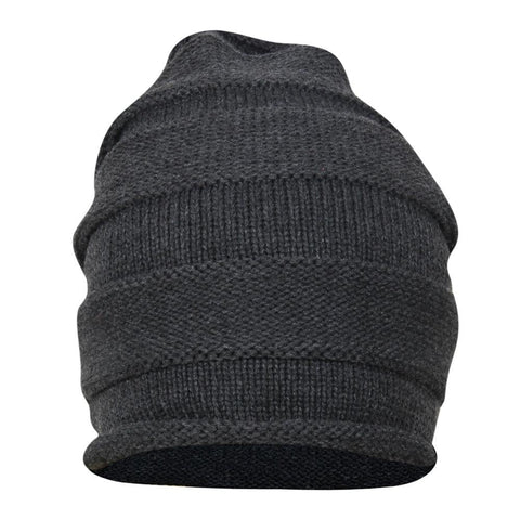 FabSeasons Unisex Dark Grey Acrylic Woolen Slouchy Beanie and Skull Cap for Winters