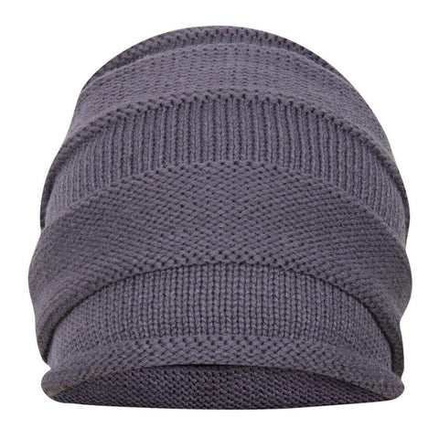 FabSeasons Unisex Medium Grey Acrylic Woolen Slouchy Beanie and Skull Cap for Winters