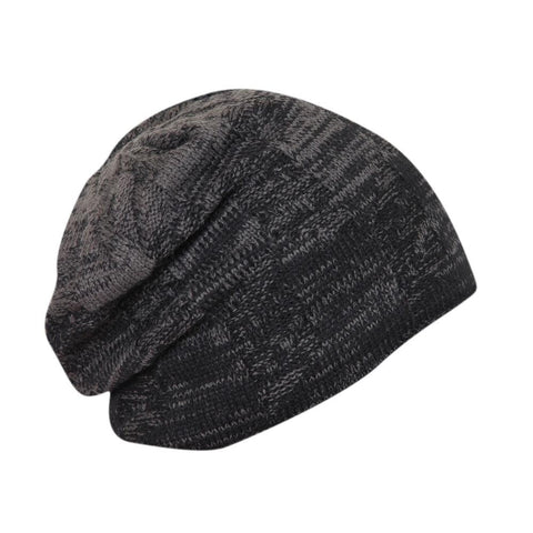 FabSeasons Unisex Dual Color Black & Gray Woolen Slouchy Beanie