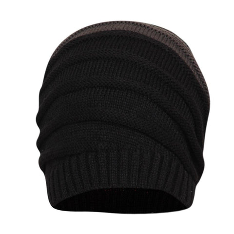 FabSeasons Unisex Dual Color Black & Gray Acrylic Woolen Slouchy Beanie Cap