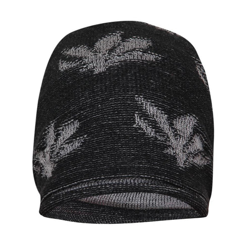 FabSeasons Floral Black Gray Acrylic Woolen Slouchy Beanie and Skull Cap for Winters