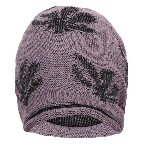 FabSeasons Floral Medium Gray Acrylic Woolen Slouchy Beanie and Skull Cap for Winters