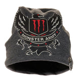 Fabseasons Dark Grey Monster Army Cotton Slouchy Beanie and Skull Cap