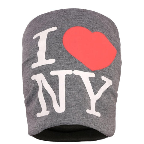 Fabseasons I LOVE NY Dark Grey Cotton Slouchy Beanie Cap