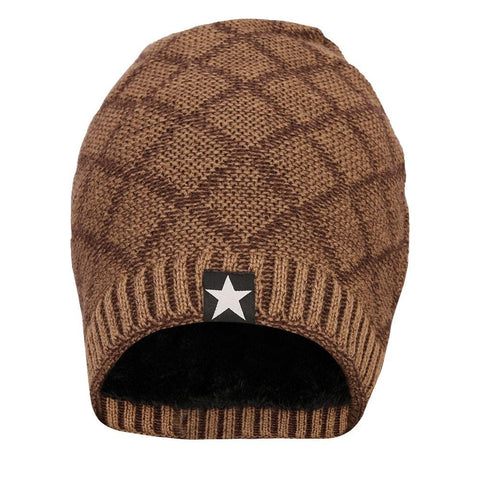 Woolen Winter Beanie Cap with Faux Fur Lining