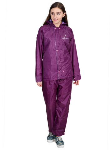 FabSeasons Dark purple Waterproof Raincoat for women -Adjustable Hood & Reflector at back for Night visibility.