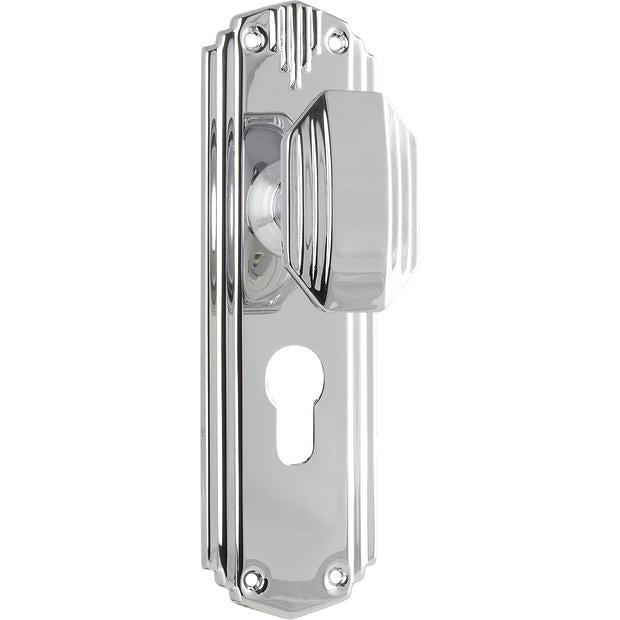 Door Knob Napier Art Deco Euro Chrome Plated H178xW54xP50mm