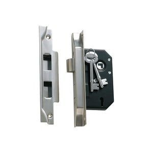 Mortice Lock 3 Lever Rebated Satin Chrome CTC57mm Backset 44mm
