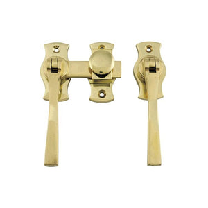 French Door Fastener Square Polished Brass Backplate H54xW29mm P31mm