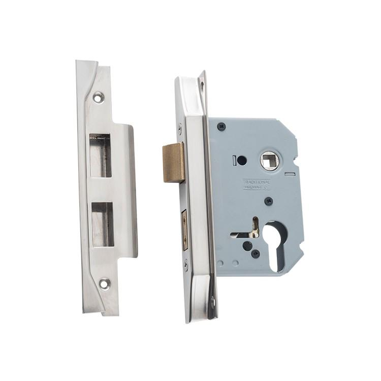 Mortice Lock Euro Rebated Satin Nickel CTC47.5mm Backset 57mm