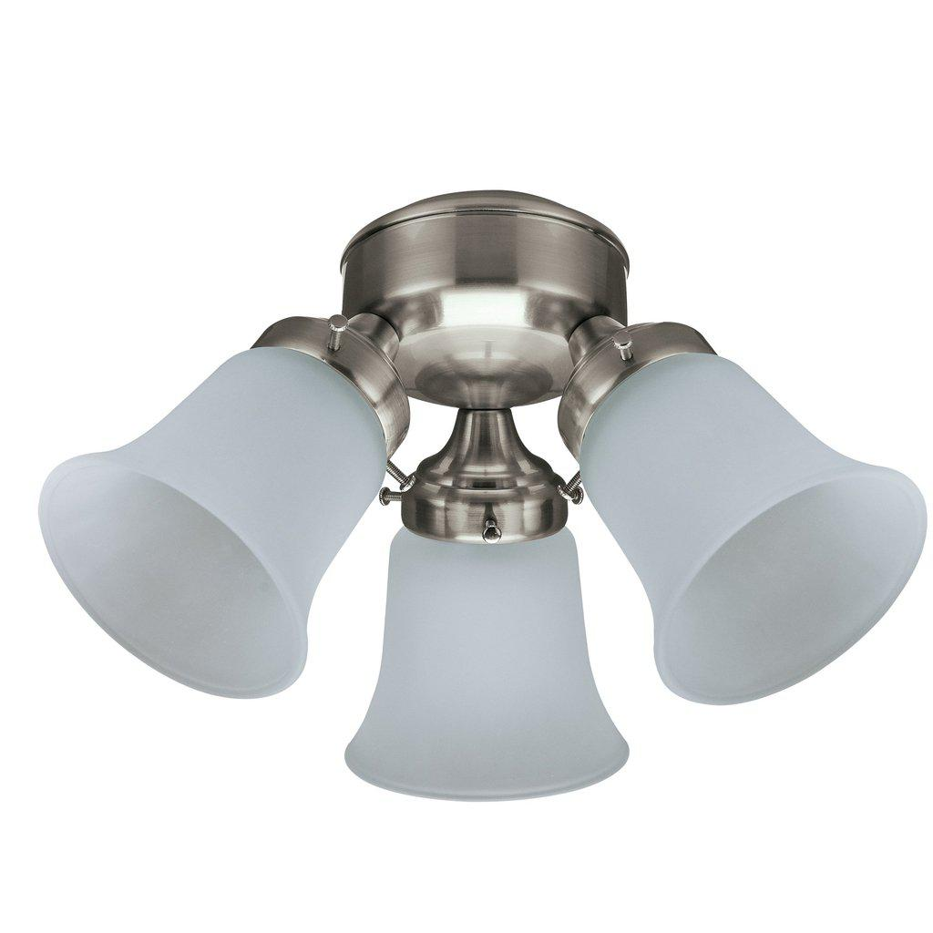 3 Light Flush Mount, Brushed Nickel With Frosted Glass FANS HUNTER LIGHTING & FANS