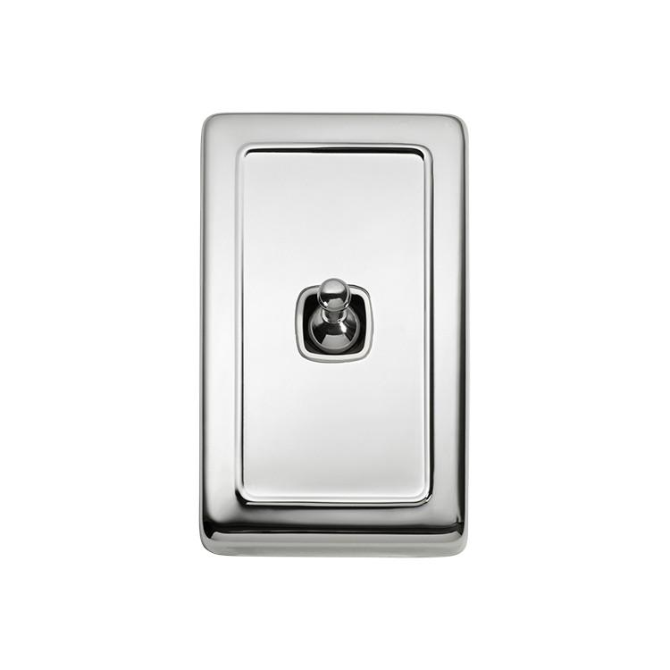 Switch Flat Plate Toggle 1 Gang White Chrome Plated H115xW72mm