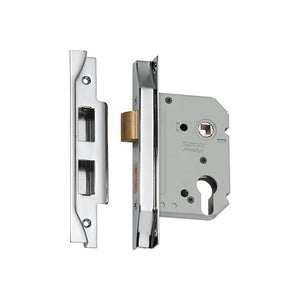 Mortice Lock Euro Rebated Chrome Plated CTC47.5mm Backset 57mm