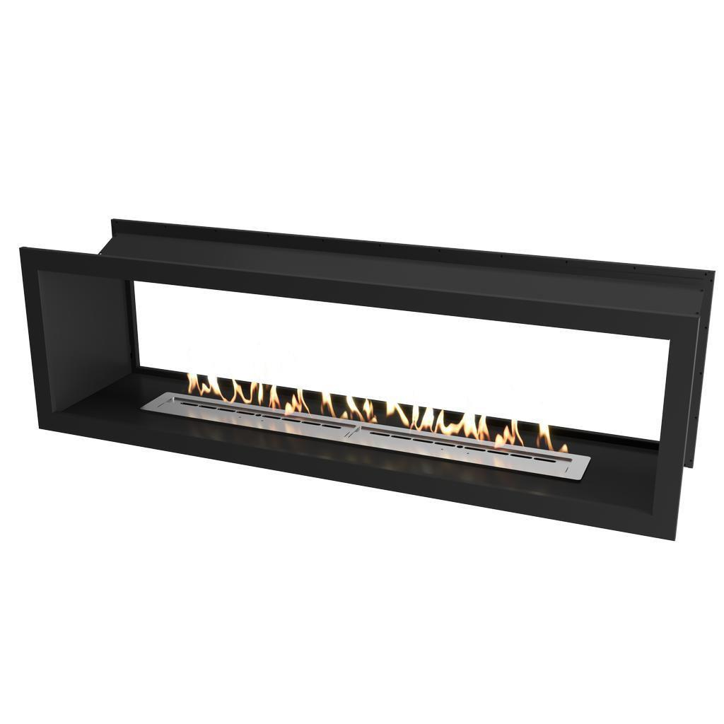Slimline Double Sided Firebox 2000 with Slimline 1400 Burner & Black Powder Coated Fascia