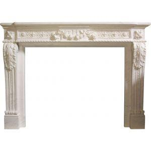 Louis XVI mantle Small Flowers 1040x900 Marble White **