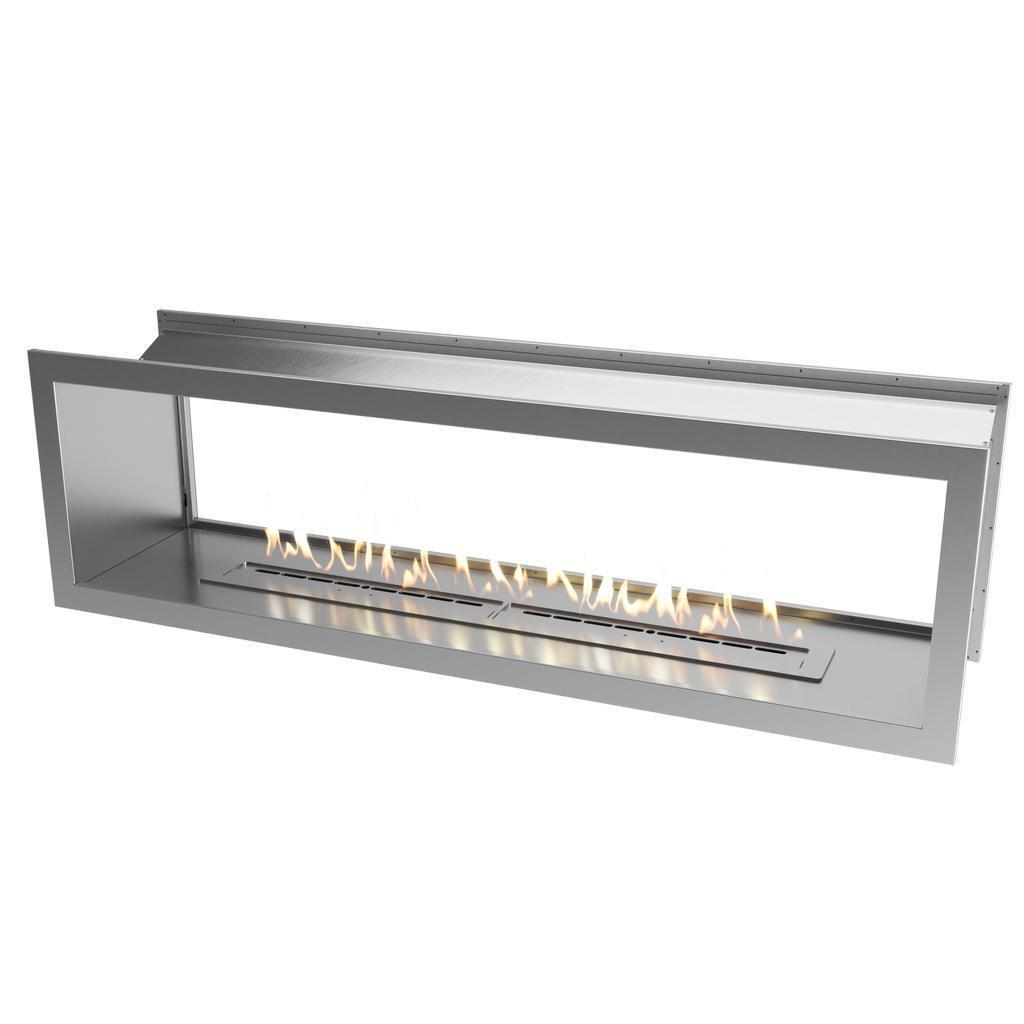 Slimline Double Sided Firebox 2000 With Slimline 1400 Burner & Stainless Steel Fascia BIO-FUEL FIRES FIREPLACE
