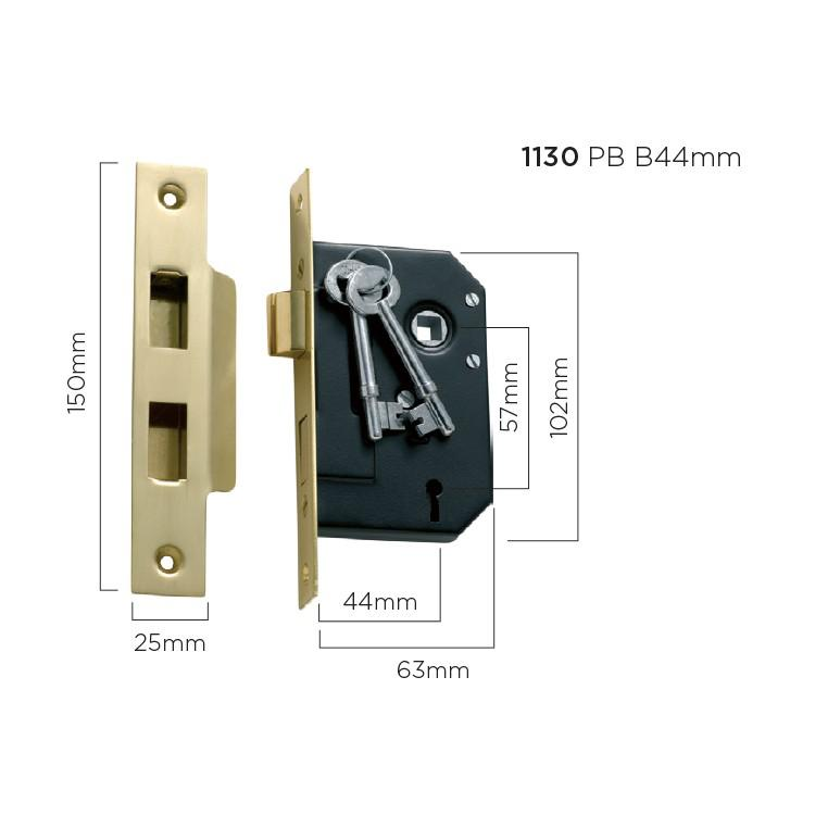 Mortice Lock 3 Lever Polished Brass CTC57mm Backset 44mm