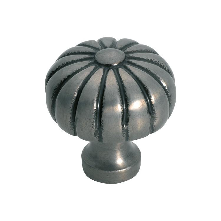 Cupboard Knob Fluted Iron Polished Metal D38xP42mm
