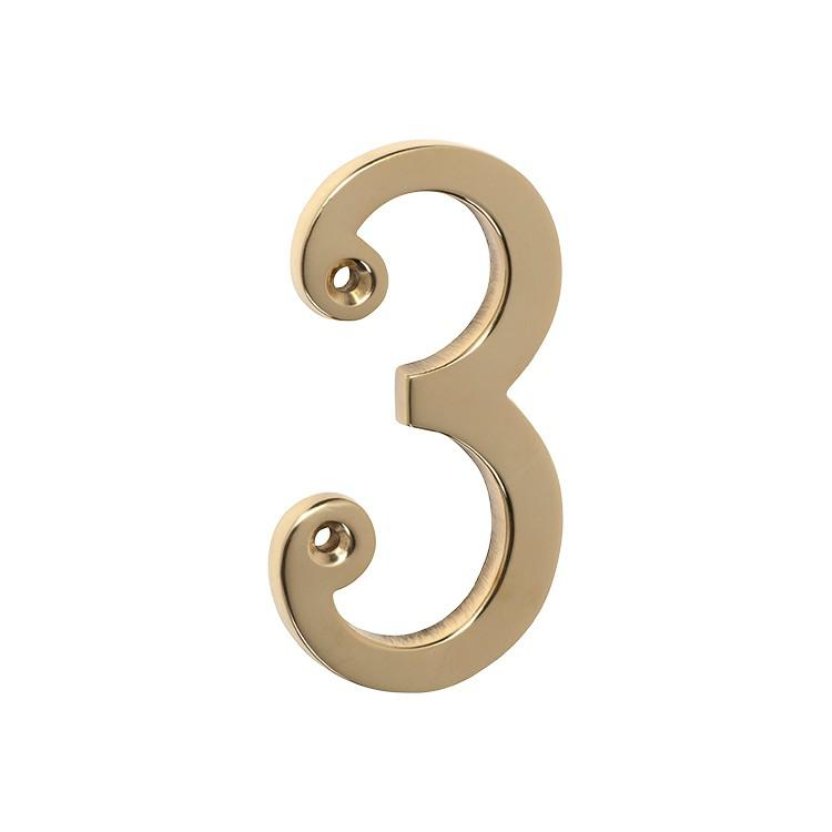Numeral 3 Polished Brass H75mm