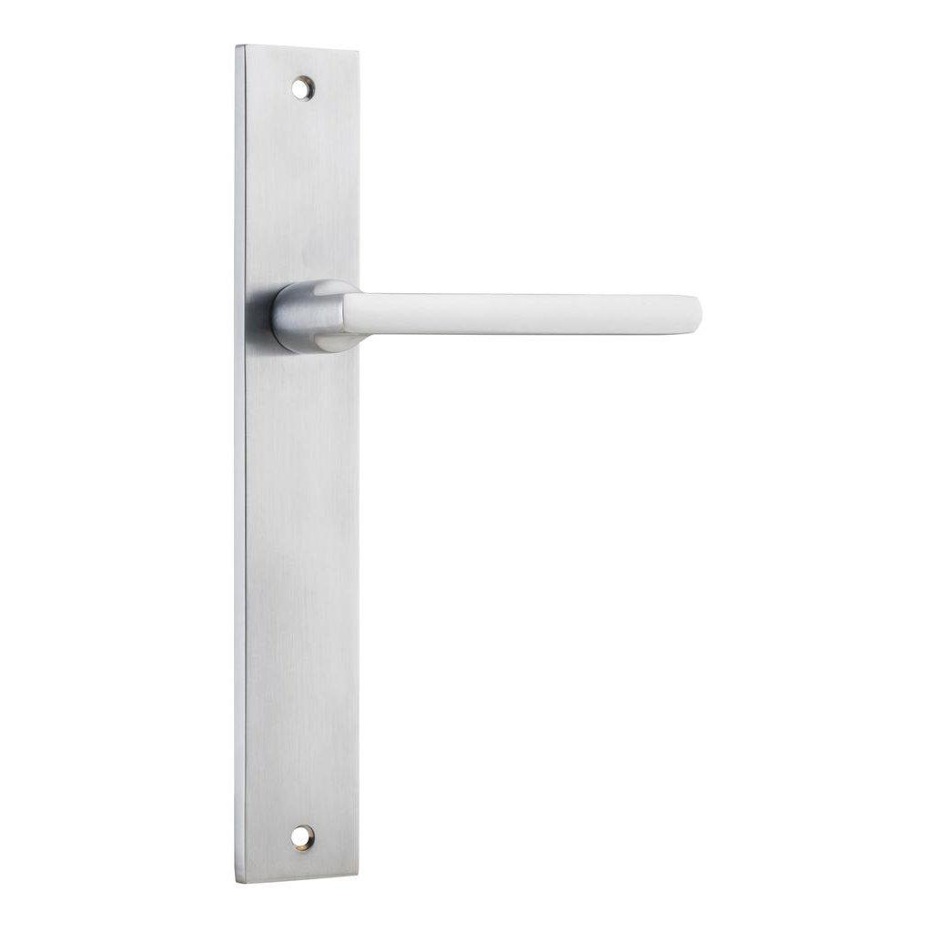 Door Lever Baltimore Rectangular Latch Fixed Half Set Right Hand Satin Chrome H240xW38xP55mm