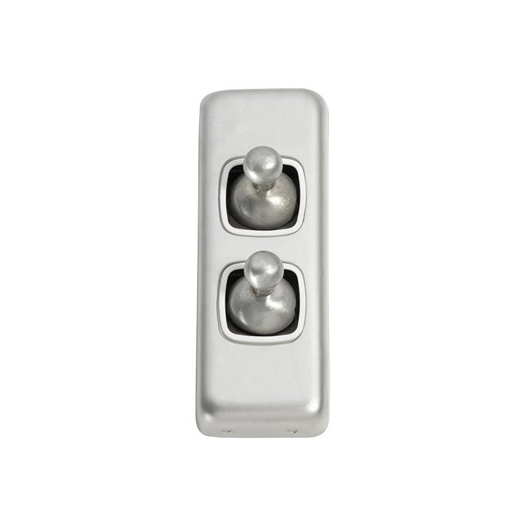 Switch Flat Plate Toggle 2 Gang White Satin Chrome H82xW30mm
