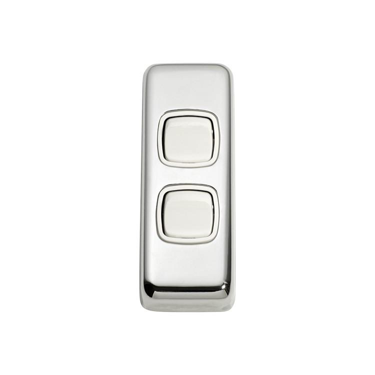 Switch Flat Plate Rocker 2 Gang White Chrome Plated H82xW30mm