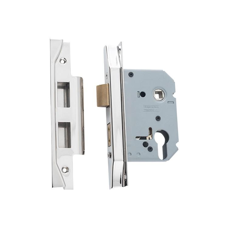 Mortice Lock Euro Rebated Polished Nickel CTC47.5mm Backset 57mm