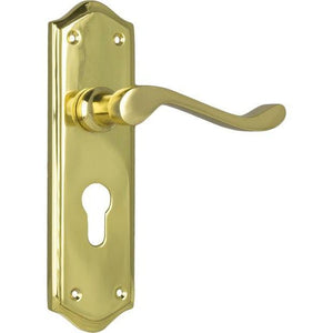 Door Lever Henley Euro Polished Brass H180xW50xP58mm