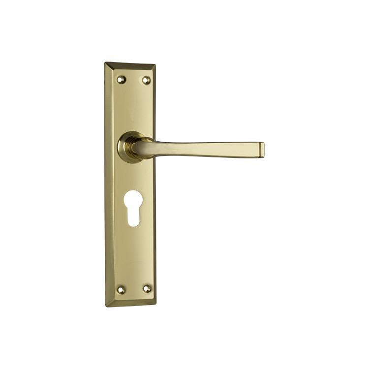 Door Lever Menton Euro Polished Brass CTC85mm H225xW50xP75mm