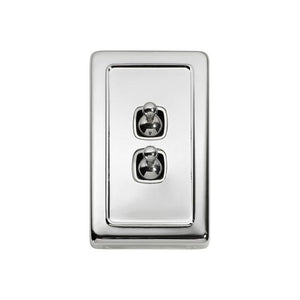 Switch Flat Plate Toggle 2 Gang White Chrome Plated H115xW72mm