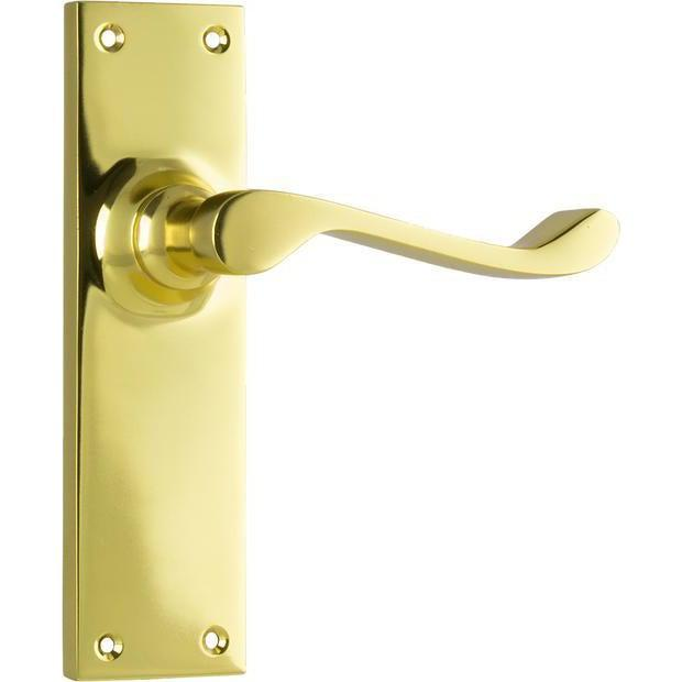 Door Lever Victorian Latch Polished Brass H152xW42xP59mm