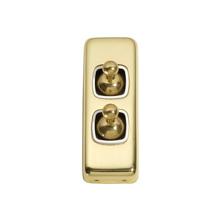 Switch Flat Plate Toggle 2 Gang White Polished Brass H82xW30mm