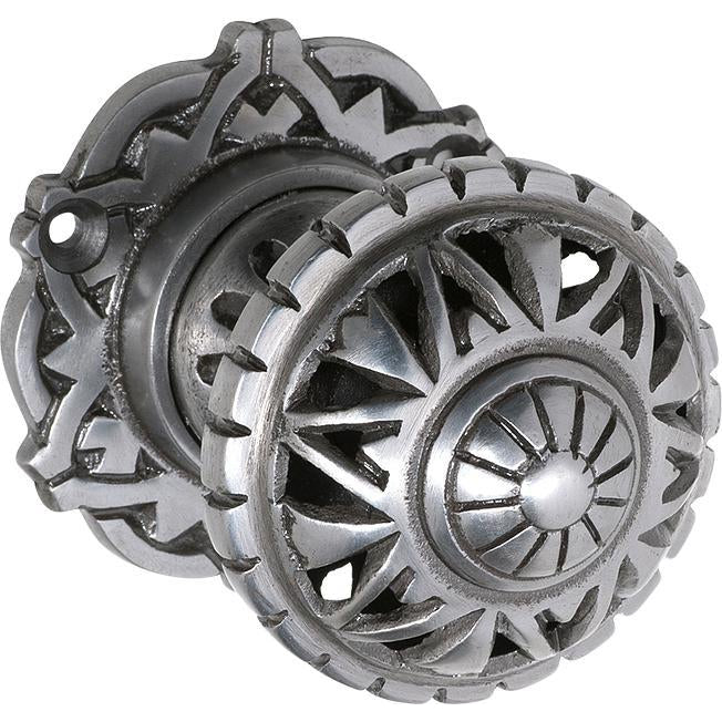 Door Knob Mortice Filigree Iron Polished Metal D63xP78mm