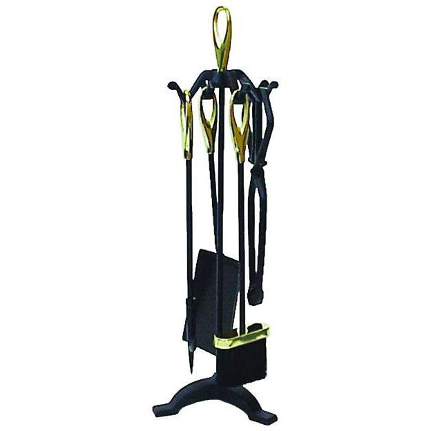 Fire Tool Set 4 Piece + Stand - Black/Brass 64cm FIREPLACE ACCESSORIES FIREPLACE