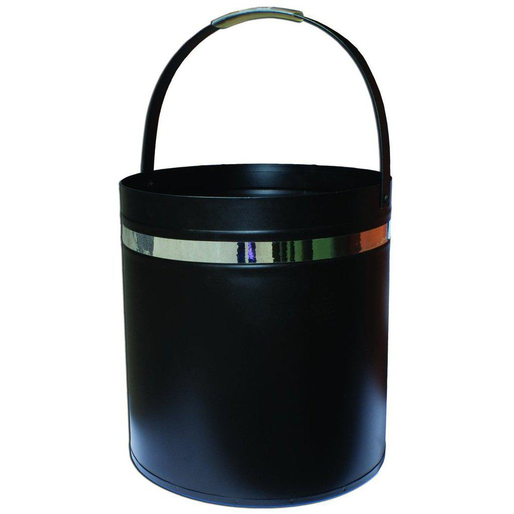 Wood Bucket Round - Black With Silver Band FIREPLACE ACCESSORIES FIREPLACE