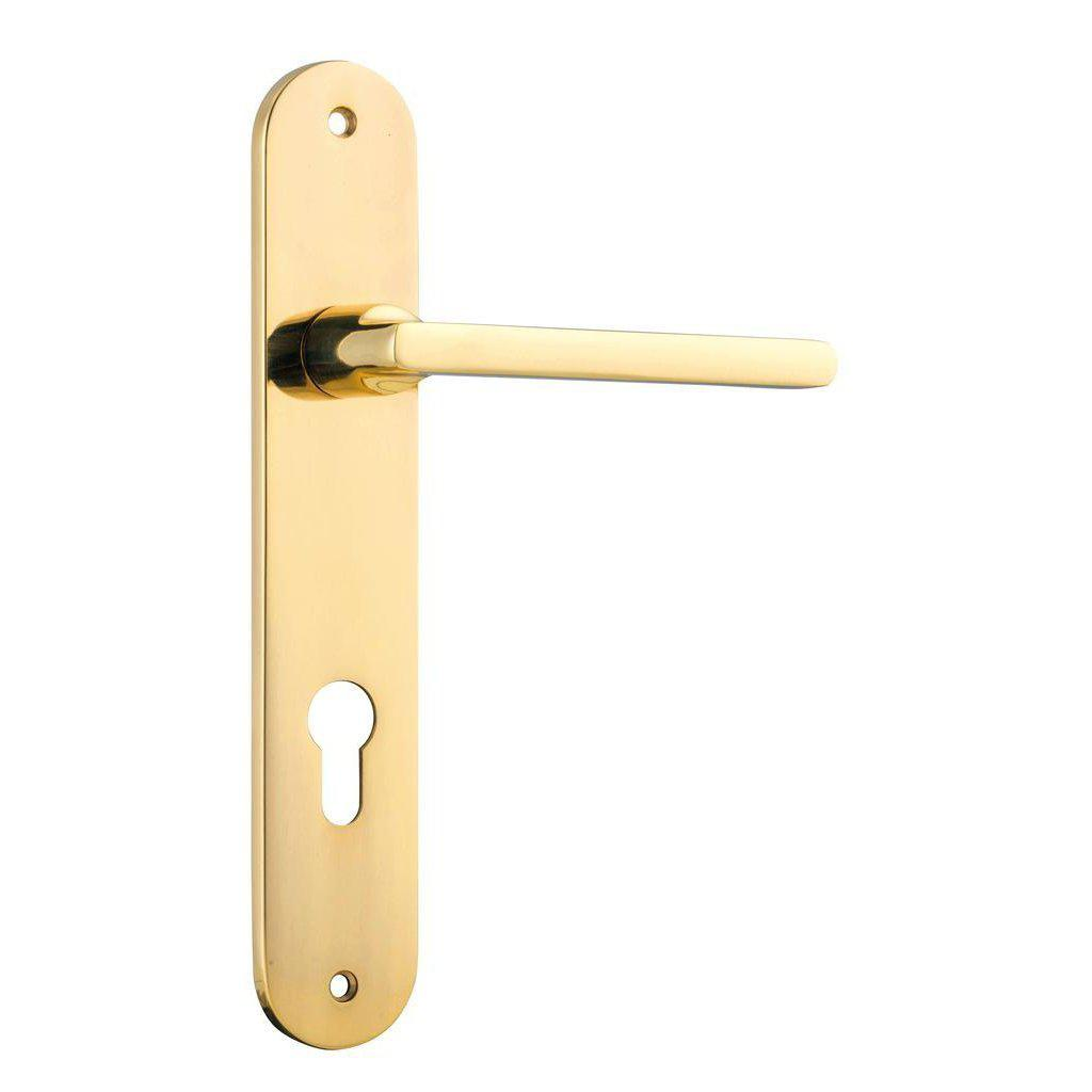 Door Lever Baltimore Oval Euro Polished Brass Ctc85mm H230Xw40Xp55mm DOOR FURNITURE HARDWARE