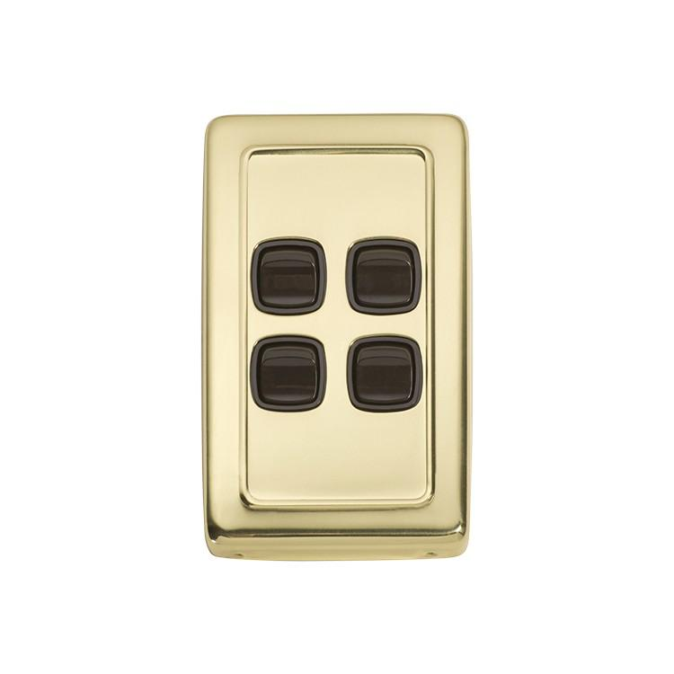 Switch Flat Plate Rocker 4 Gang Brown Polished Brass H115xW72mm