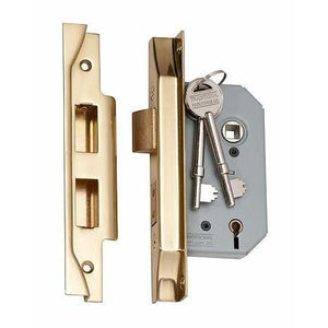 Mortice Lock 5 Lever Rebated Polished Brass CTC57mm Backset 46mm