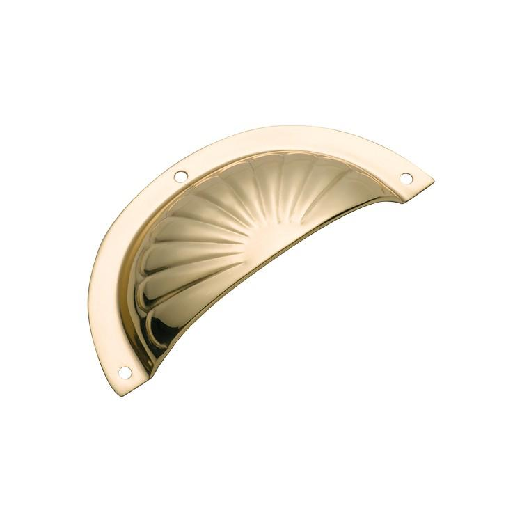 Drawer Pull Sheet Brass Fluted Polished Brass H40xL97mm