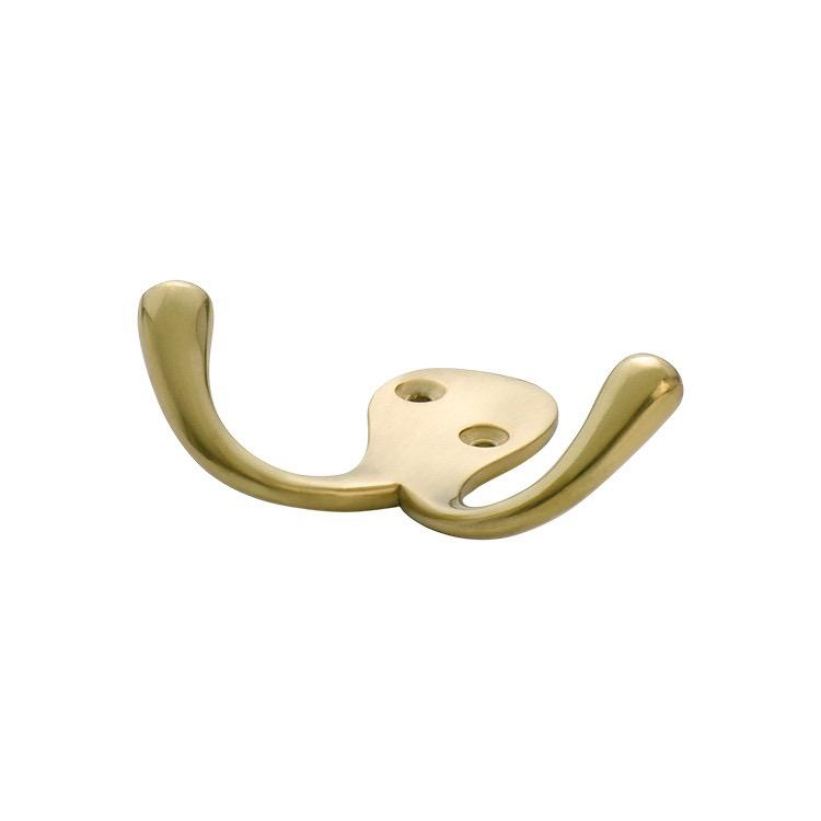Robe Hook Double Satin Brass H75xP30mm