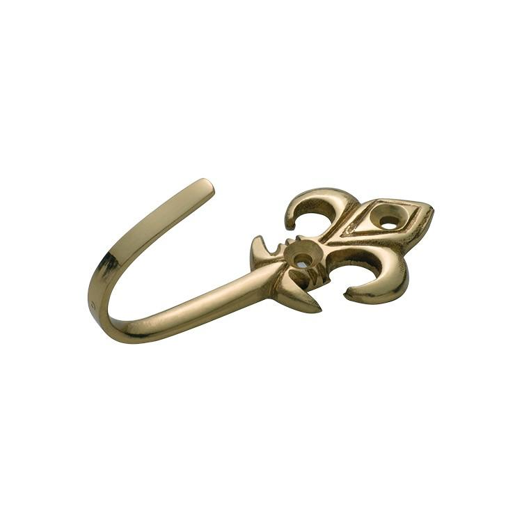 Curtain Tie Back Hook Fleur De Lis Polished Brass H75xP30mm