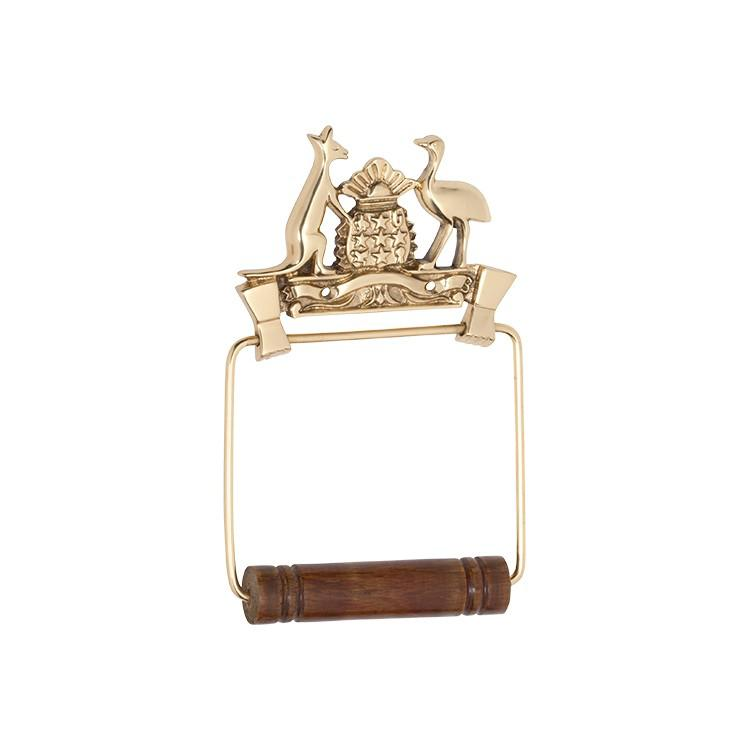 Toilet Roll Holder Coat Of Arms Polished Brass H190xW120mm
