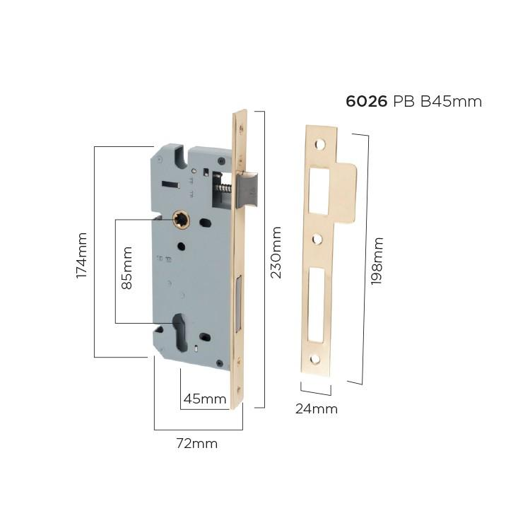 Mortice Lock Euro Polished Brass CTC85mm Backset 45mm