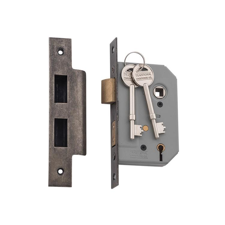 Mortice Lock 5 Lever Rumbled Nickel CTC57mm Backset 46mm