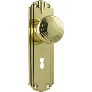 Door Knob Hastings Art Deco Lock Polished Brass H178xW54xP60mm DOOR FURNITURE HARDWARE